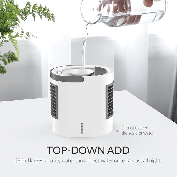 USB cover fan / humidifier - 380ml reservoir - LED lighting