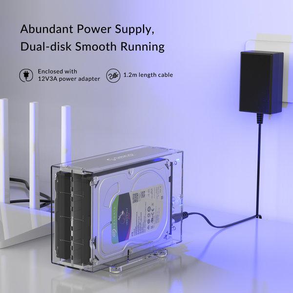 Orico Dual Bay HDD-Gehäuse transparent für 2x 3,5-Zoll-Festplatte