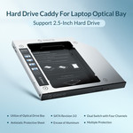 Laptop caddy for hard disk up to 9.5mm - SATA - silver