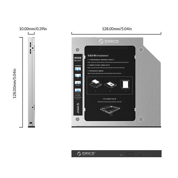 Laptop-Caddy für Festplatte bis 9,5 mm - SATA - Silber