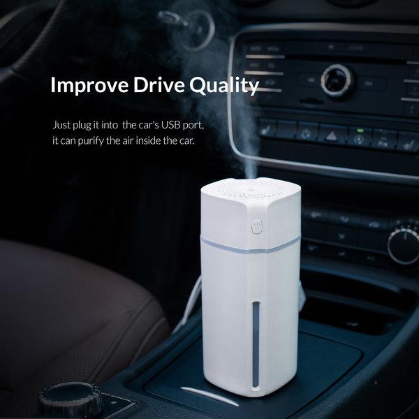 Humidificateur adapté à la voiture - double mode - éclairage LED - blanc
