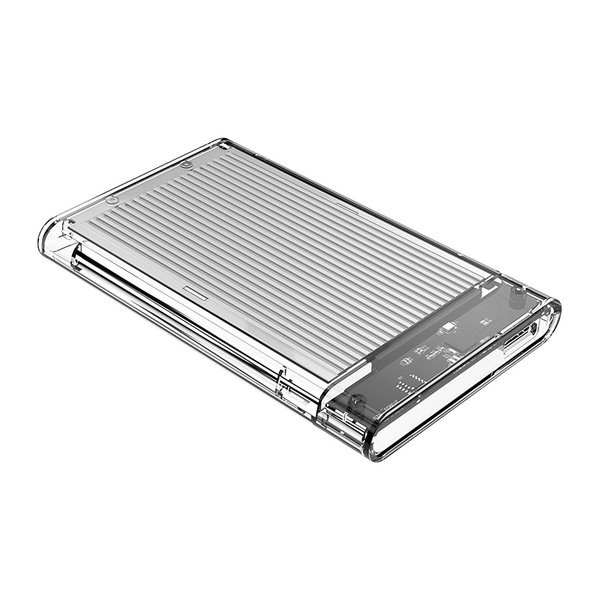 2,5 Zoll Festplattengehäuse - transparent / Aluminium - Silber