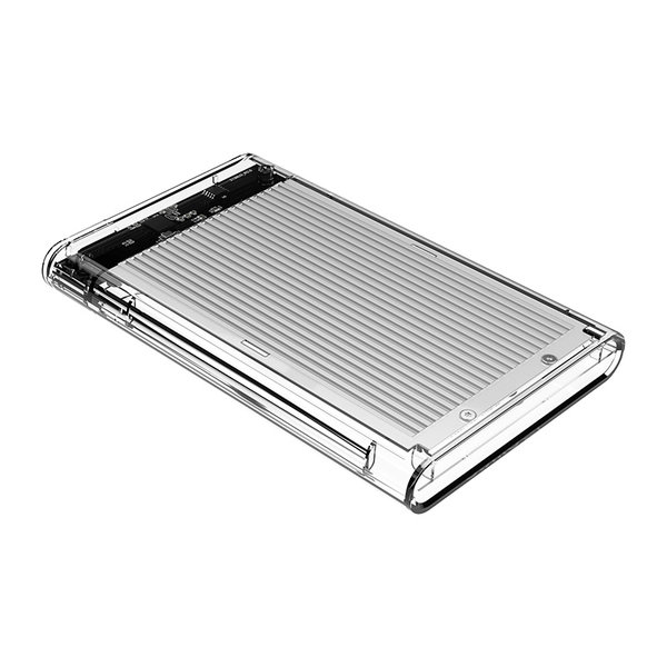 2.5 inch hard disk enclosure - transparent / aluminum - silver