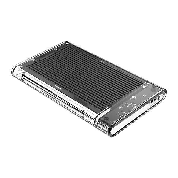 2.5 inch hard disk enclosure - transparent / aluminum - black