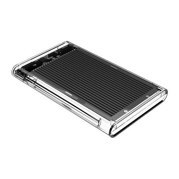 2.5 inch harde schijf behuizing - transparant/aluminium - zwart