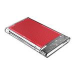 2.5 inch hard disk enclosure - transparent / aluminum - red