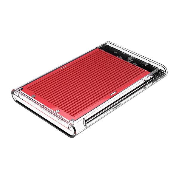 2.5 inch harde schijf behuizing - transparant/aluminium - rood