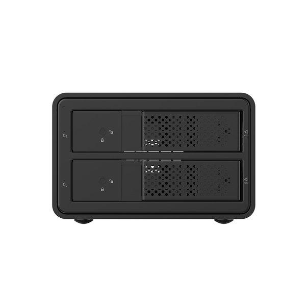 Orico Boîtier de disque dur externe 3,5 pouces à double baie - aluminium - noir