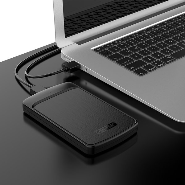 2.5 inch hard disk enclosure with sliding cover - brushed black