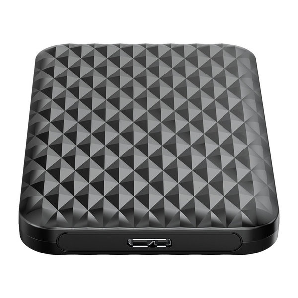 2.5 inch hard disk enclosure with sliding cover - unique diamond design - black