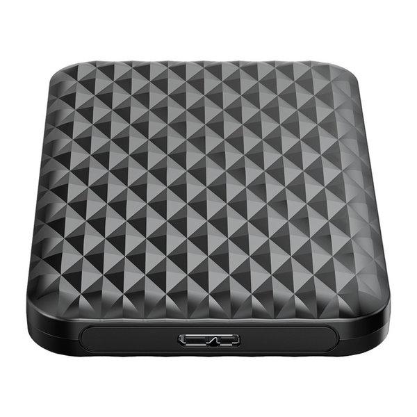 2,5-Zoll-Festplattengehäuse mit Schiebeabdeckung - einzigartiges Diamant-Design - schwarz