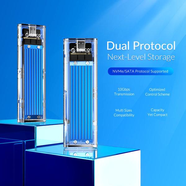 Dual protocol NVMe M.2 SSD/M.2 SSD behuizing 10Gbps - Blauw