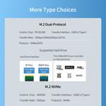 Dual protocol NVMe M.2 SSD / M.2 SSD enclosure 10Gbps - Blue