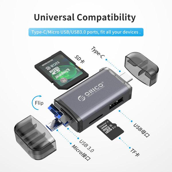 6-in-1 card reader - USB 3.0 - USB-C / Micro-USB / USB - Gray