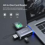 Lecteur de cartes 6 en 1 - USB 3.0 - USB-C / Micro-USB / USB - Gris