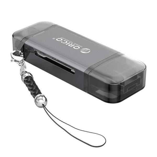 6-in-1 kaartlezer - USB 3.0 - USB-C / Micro-USB / USB - Grijs