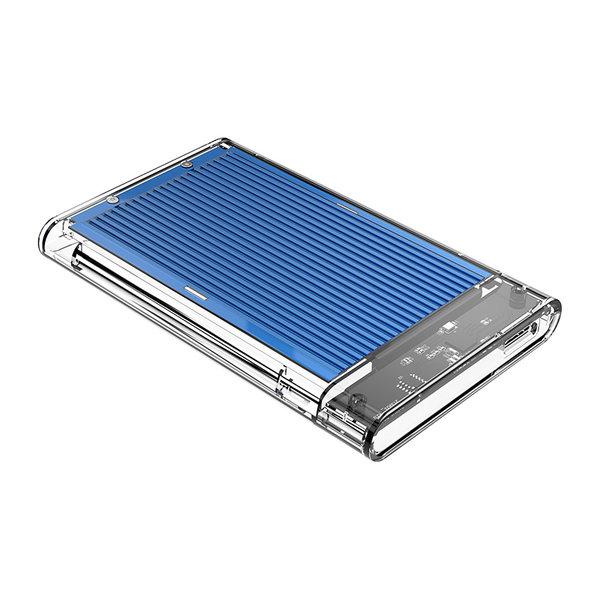 2.5 inch hard disk enclosure - transparent / aluminum - blue