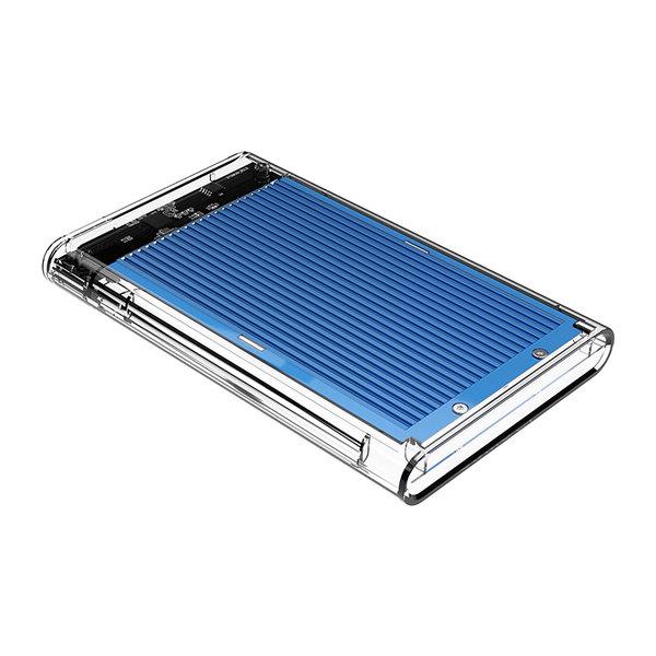 Boîtier de disque dur de 2,5 pouces - transparent / aluminium - bleu