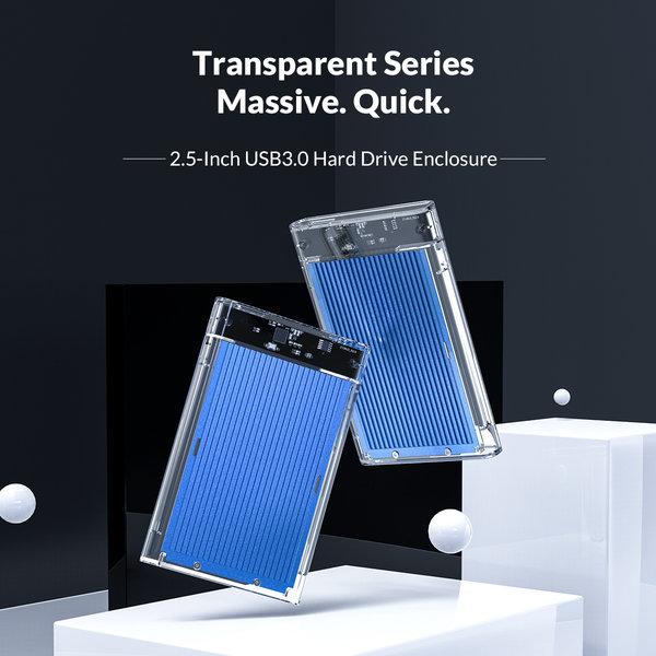 2.5 inch harde schijf behuizing - transparant/aluminium - blauw