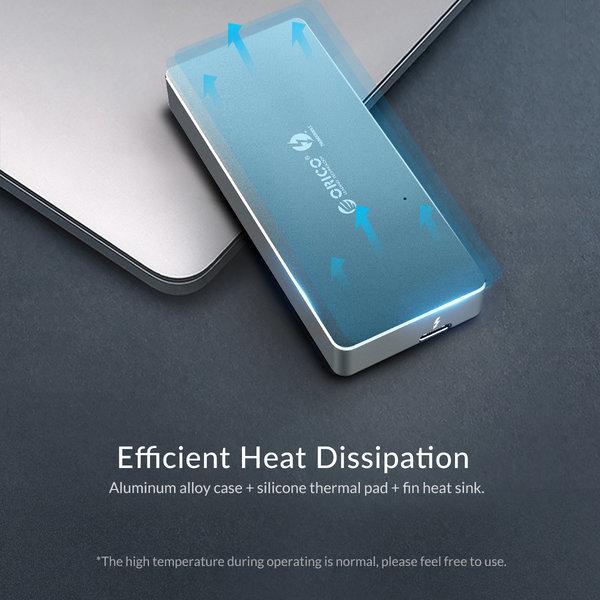 Thunderbolt 3 ™ NVME M.2 SSD Enclosure - 40Gbps - USB-C - Sky Gray