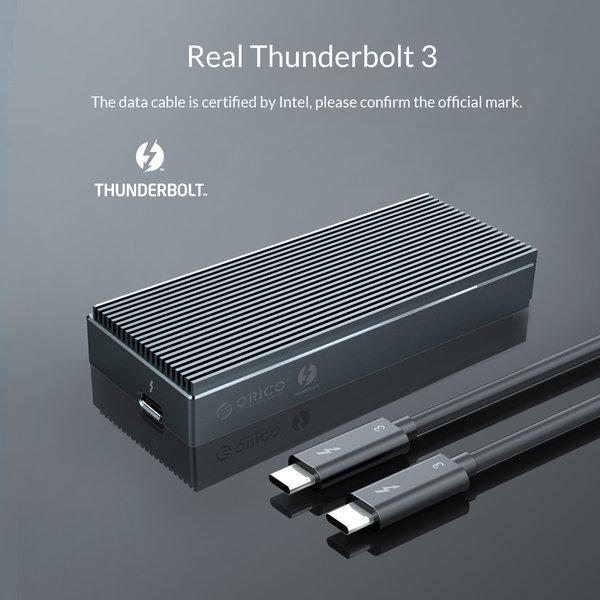 Thunderbolt 3 NVME M.2 SSD aluminium behuizing – Sky Grey
