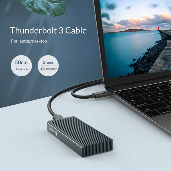 Boîtier en aluminium SSD Thunderbolt ™ 3 NVMe M.2 - 40 Gbit / s - Design unique - Gris ciel