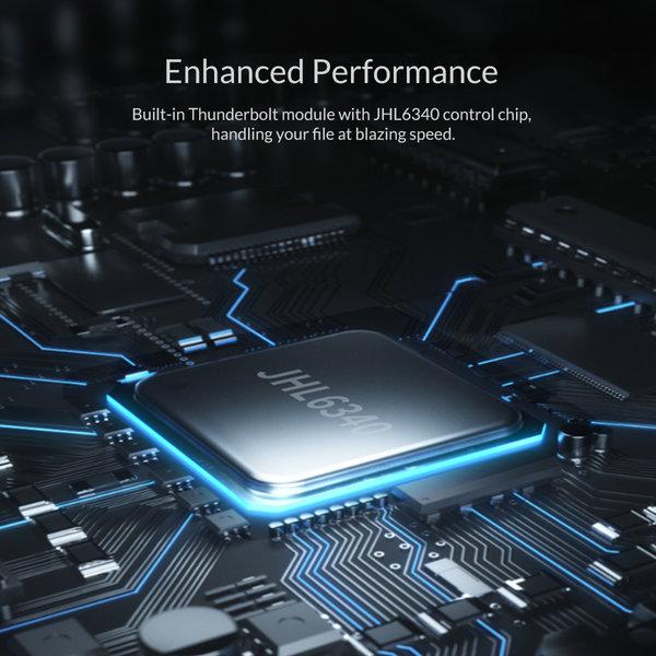 Thunderbolt™ 3 NVMe M.2 SSD aluminium behuizing – 40Gbps - uniek design - Sky Grey