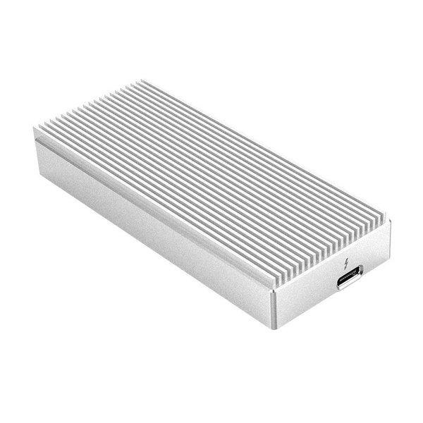 Thunderbolt ™ 3 NVMe M.2 SSD Aluminum Enclosure - 40Gbps - Unique Design - Silver