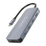 Hub USB-C 11-en-1 - 4x USB 3.0, audio, VGA, HDMI, LAN, USB-C et TF / SD - Gris ciel