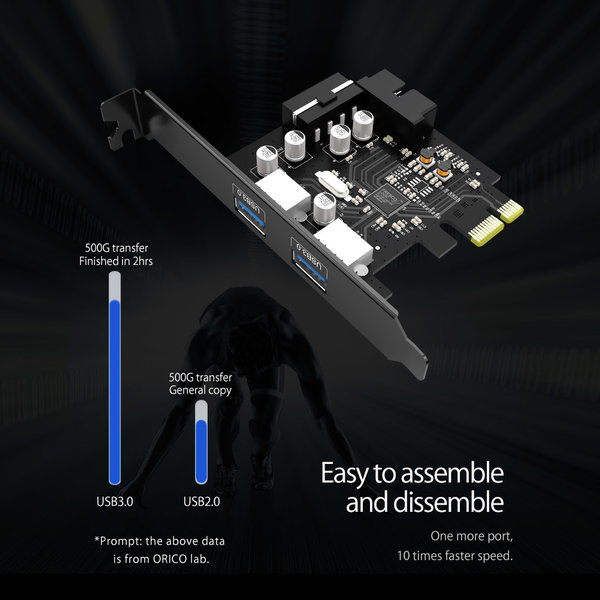 Carte PCIe - 2x USB 3.0 - SuperSpeed 5Gbps - Noir