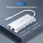 Aluminium 8-in-1 USB-C hub - USB-C, HDMI, USB 3.0, RJ45, SD kaartlezer, Audio en VGA - Zilver