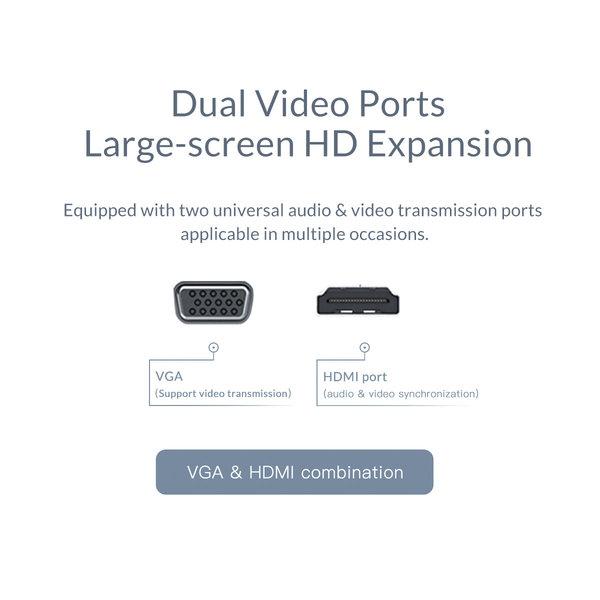 Hub USB-C 8-en-1 en aluminium - USB-C, HDMI, USB 3.0, RJ45, lecteur de carte SD, audio et VGA - Argent