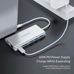 Aluminum 8-in-1 USB-C hub - USB-C, HDMI, USB 3.0, RJ45, SD card reader, Audio and VGA - Silver