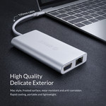 8-in-1-USB-C-Hub aus Aluminium - USB-C, HDMI, USB 3.0, RJ45, SD-Kartenleser, Audio und VGA - Silber