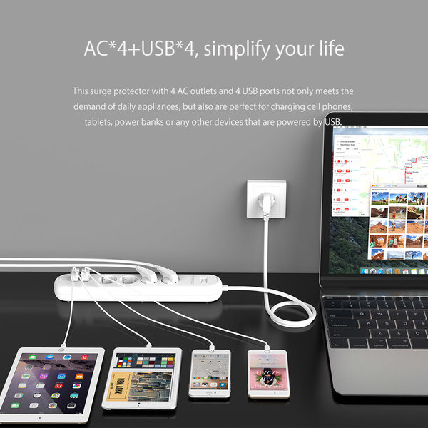 Power strip with 4 outlets and 4 USB charging ports