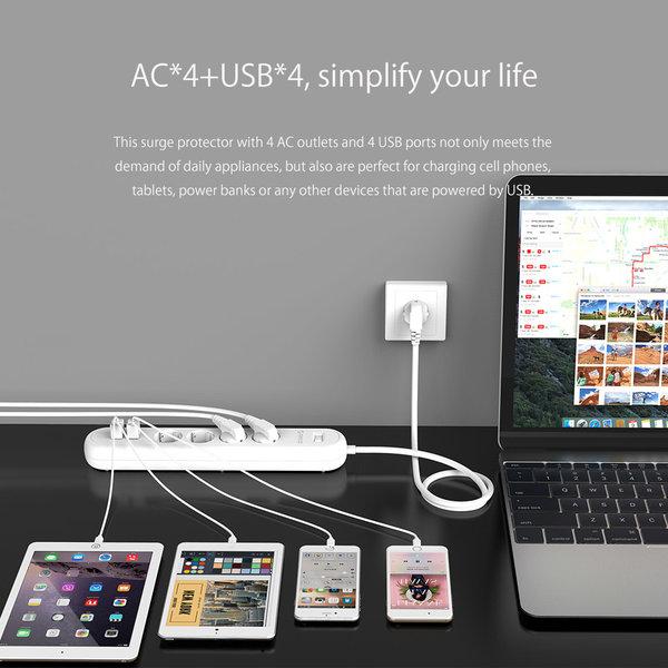 Stekkerdoos met 4 stopcontacten en 4 USB-laadpoorten