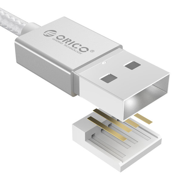 Câble de charge et de données micro-USB pour smartphone et tablette - 3A - argent - 1M