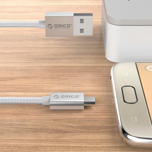 Micro-USB laad- en datakabel voor smartphone en tablet - 3A - zilver - 1M