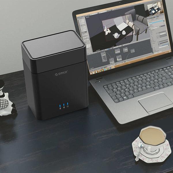 Boîtier de disque dur à double baie 3,5 pouces - USB 3.0 - magnétique