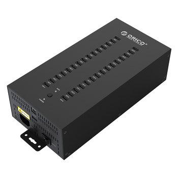 Industrieller USB-Hub aus Stahl mit 30 Anschlüssen - 300 W.