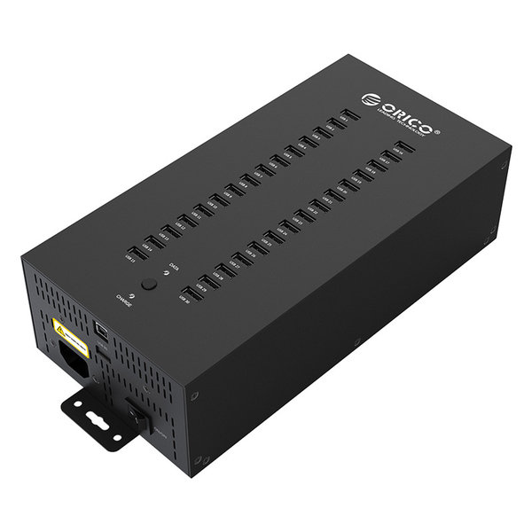 Steel industrial USB hub with 30 ports - 300W - charging and data transfer - black