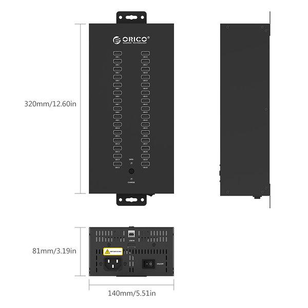 Industrieller USB-Hub aus Stahl mit 30 Anschlüssen - 300 W - Laden und Datenübertragung - schwarz