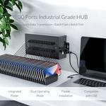 Stalen industriële USB hub met 30 poorten - 300W - opladen en dataoverdracht - zwart
