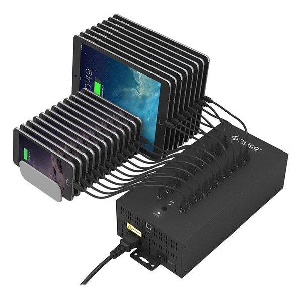 Orico Stahl-Industrie-Hub mit 20 USB-Anschlüssen - 150 W - Laden und Datenübertragung - schwarz