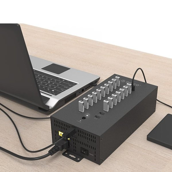 Orico Steel industrial hub with 20 USB ports - 150W - charging and data transfer - black