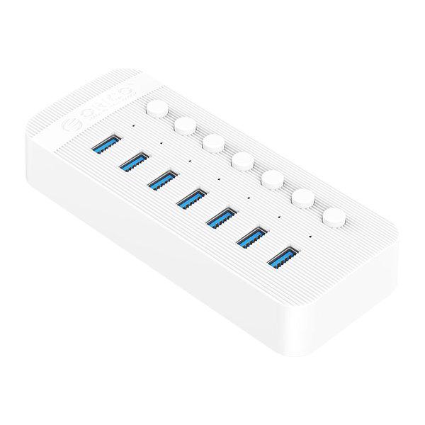 USB 3.0 hub met 7 poorten - BC 1.2 - aan/uit schakelaars - 24W - wit
