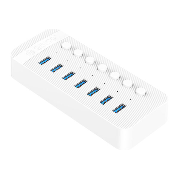 USB 3.0 hub with 7 ports - BC 1.2 - on / off switches - 24W - white