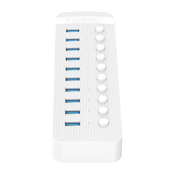 USB 3.0 Hub mit 10 Anschlüssen - BC 1.2 - Ein / Aus-Schalter - 48 W - weiß