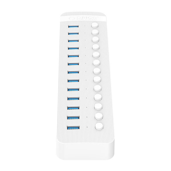 USB 3.0 hub with 13 ports - BC 1.2 - on / off switches - 60W - white