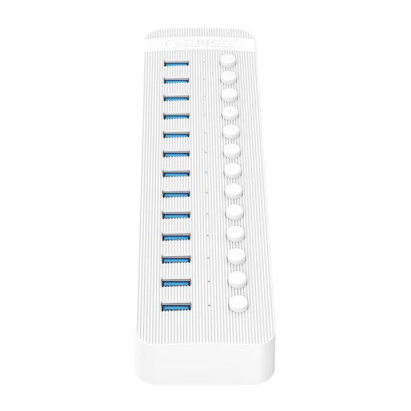 USB 3.0 hub met 13 poorten - BC 1.2 - aan/uit schakelaars - 60W - wit